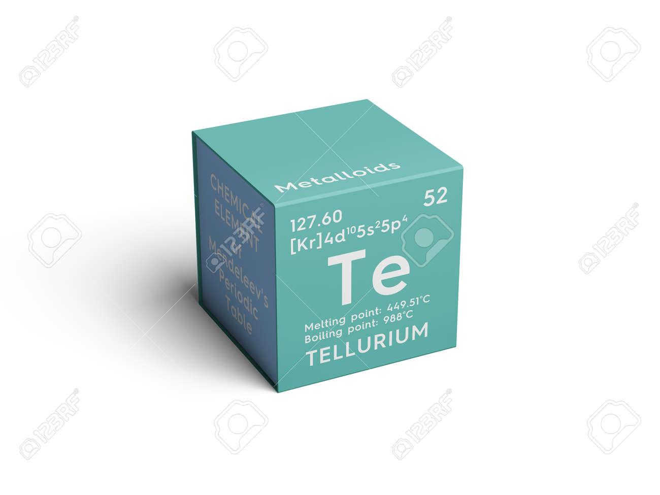 Telurio metaloides elemento qumico de la tabla peridica de metaloides elemento qumico de la tabla peridica de mendeleev telurio en cubo cuadrado concepto creativo urtaz Images