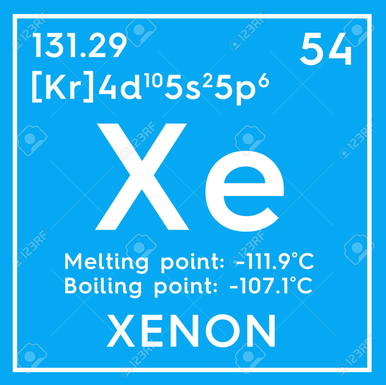 foto de archivo xenn gases nobles elemento qumico de la tabla peridica de mendeleev xenon en cubo cuadrado concepto creativo