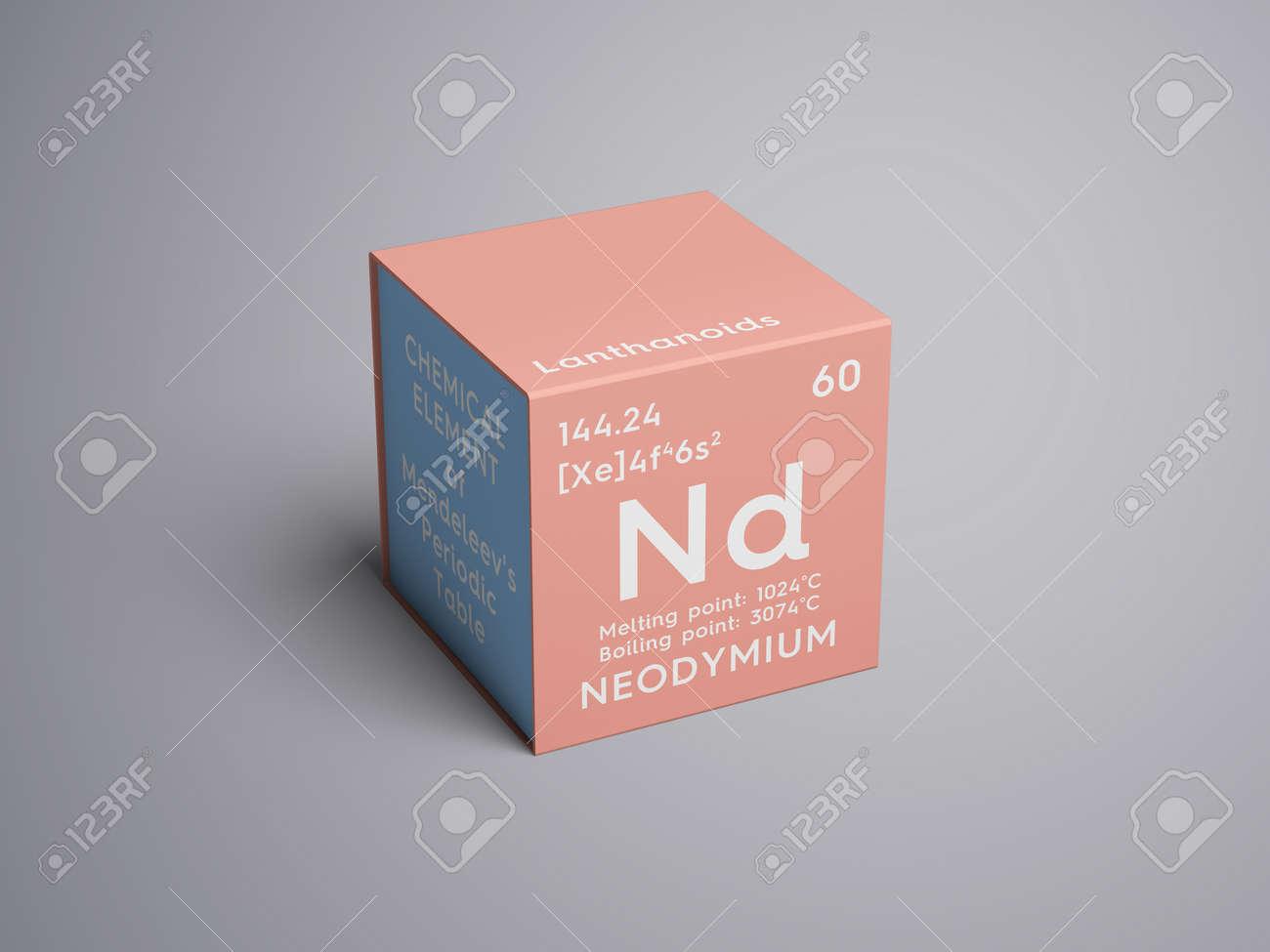 Neodymium lanthanoids chemical element of mendeleevs periodic neodymium lanthanoids chemical element of mendeleevs periodic table neodymium in a square cube gamestrikefo Choice Image