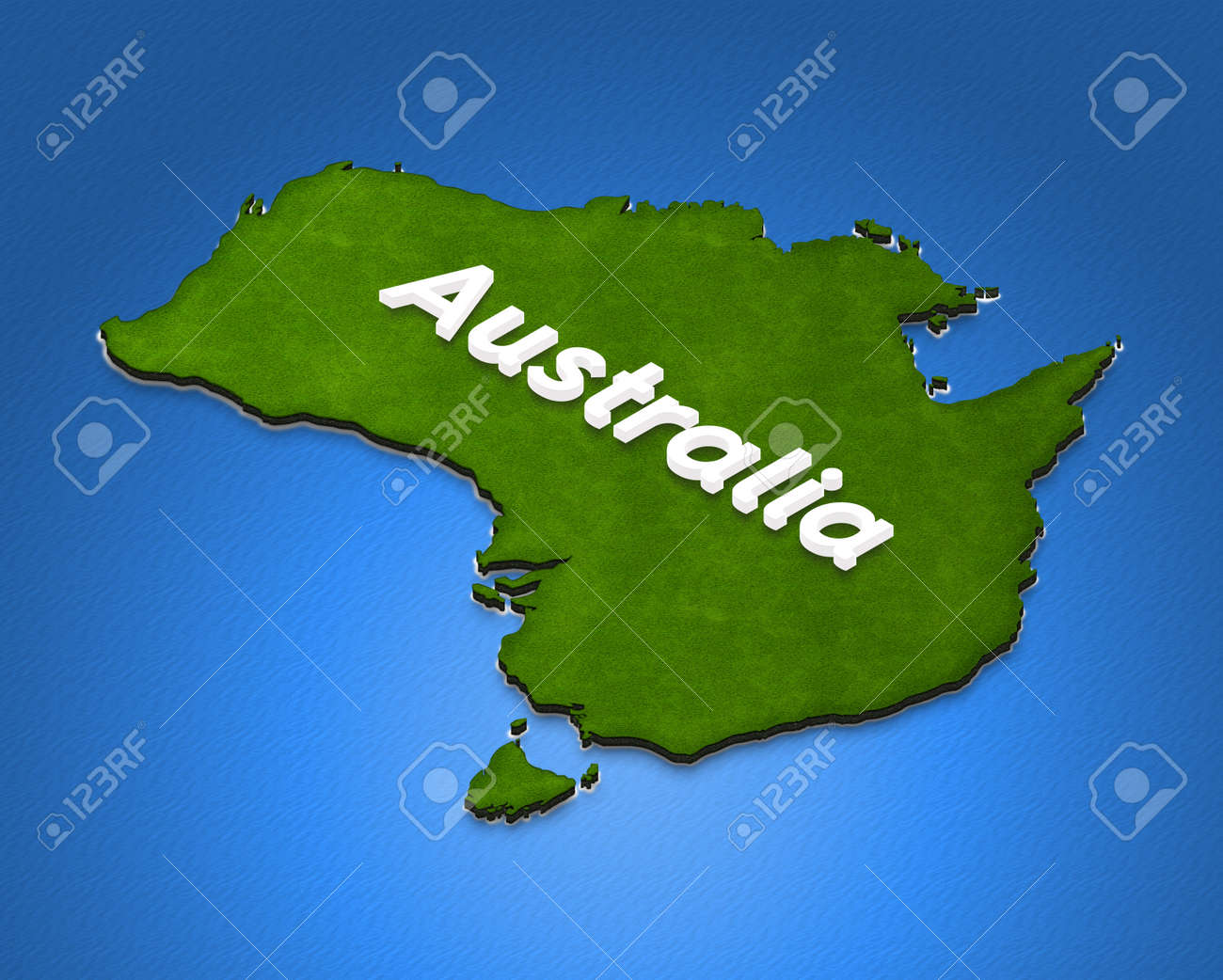 Illustration green ground map of australia on water background illustration illustration green ground map of australia on water background left 3d isometric projection with the name of continent gumiabroncs Gallery