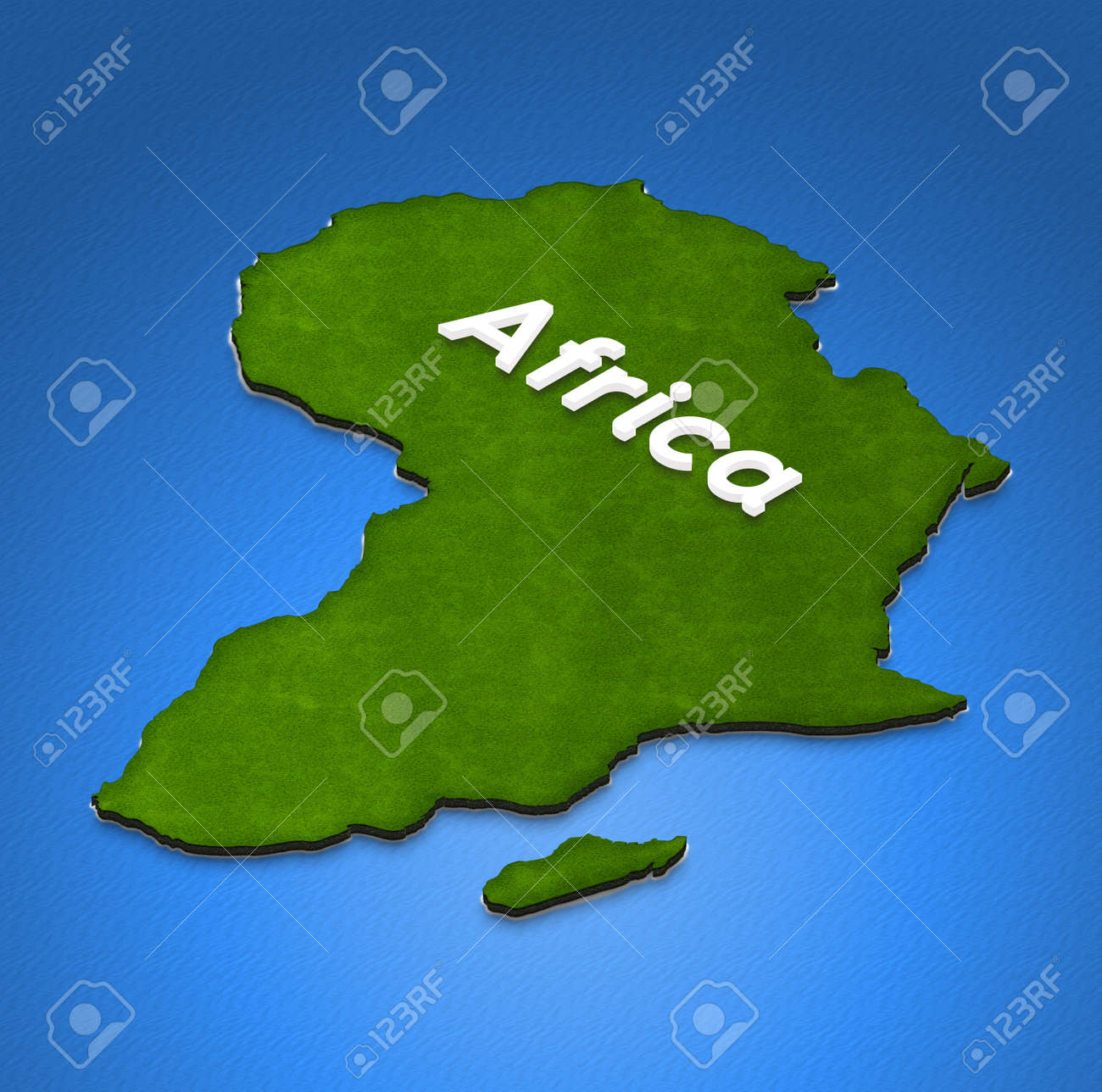 Illustration Of A Green Ground Map Of Africa On Water Background