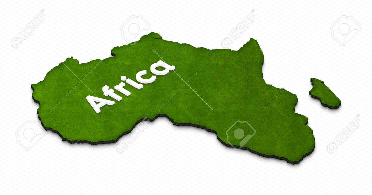 illustration of a green ground map of africa on grid background