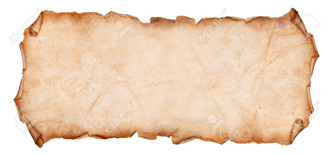 Old, Dry Paper With Torn Edges Curled Isolated on a White Background - 87423985