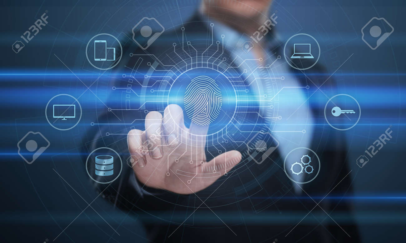 Fingerprint scan provides security access with biometrics identification. Business Technology Safety Internet Concept. - 86299737