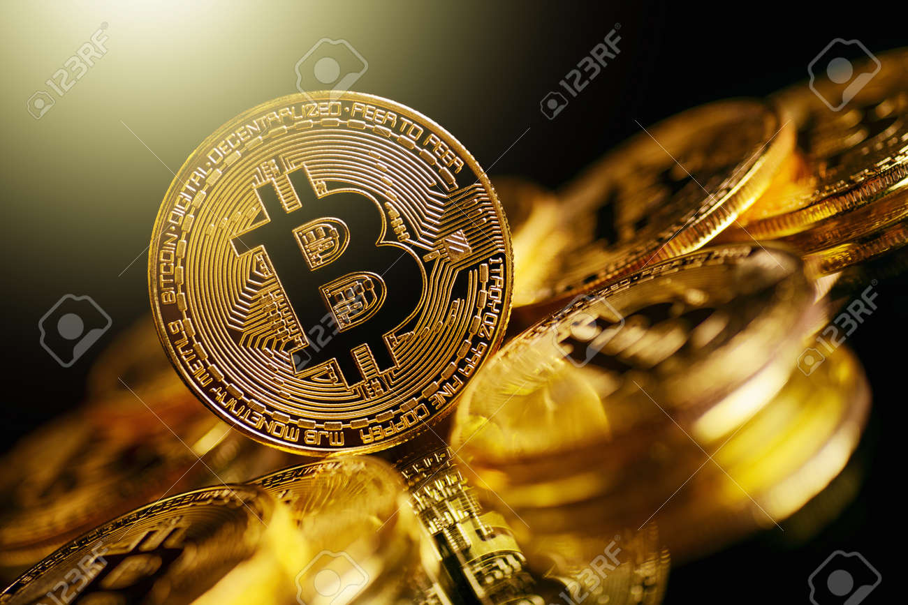 Bitcoin Cryptocurrency Digital Bit Coin BTC Currency Technology Business Internet Concept. - 93803680