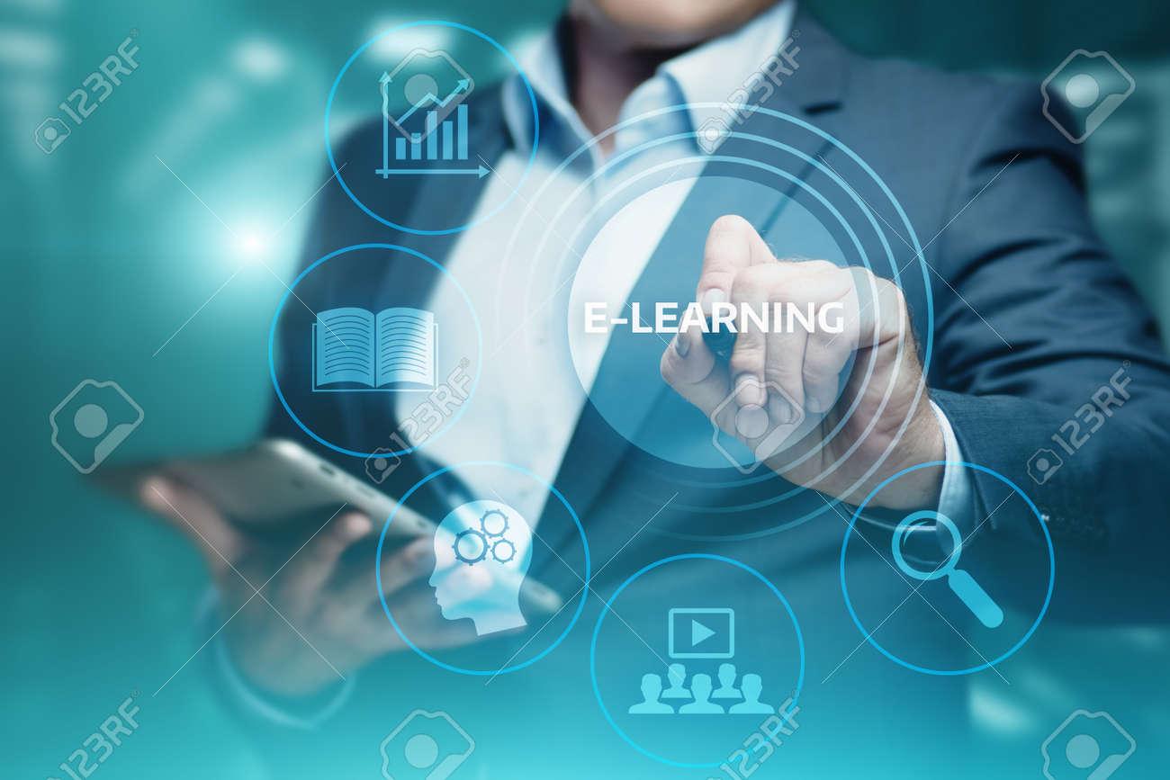 E-learning Education Internet Technology Webinar Online Courses concept. - 96448531