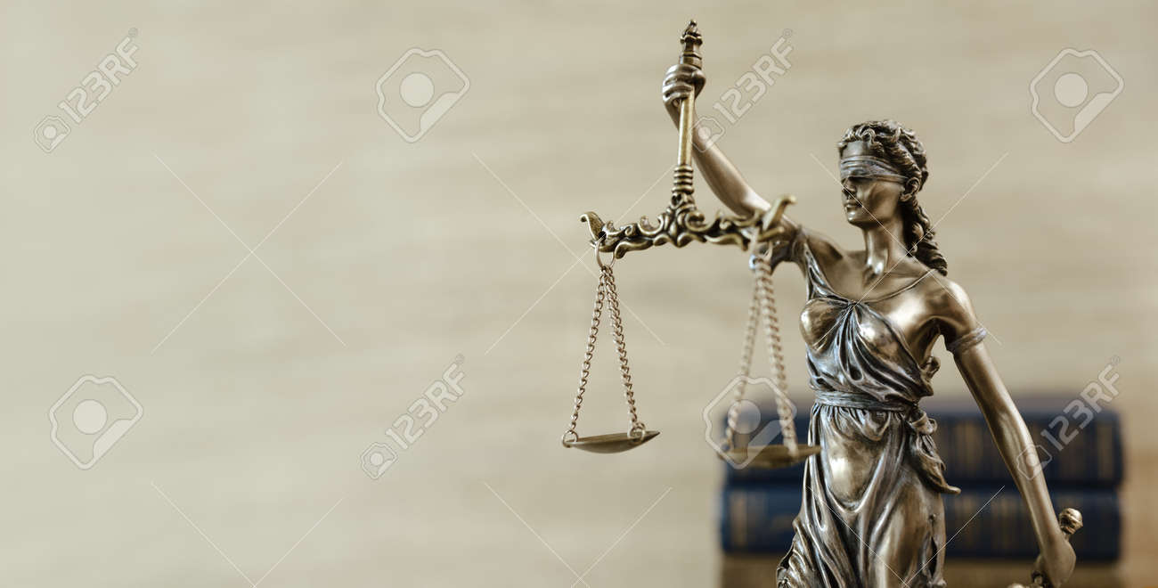 Themis Statue Justice Scales Law Lawyer Concept. - 124921436