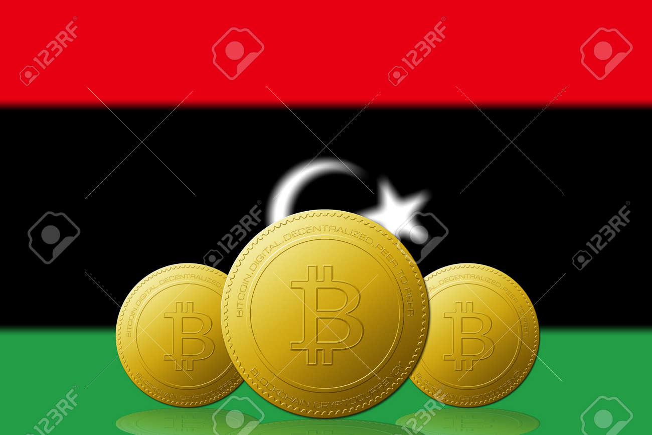 Three bitcoins cryptocurrency with libya flag on background stock stock photo three bitcoins cryptocurrency with libya flag on background ccuart Choice Image