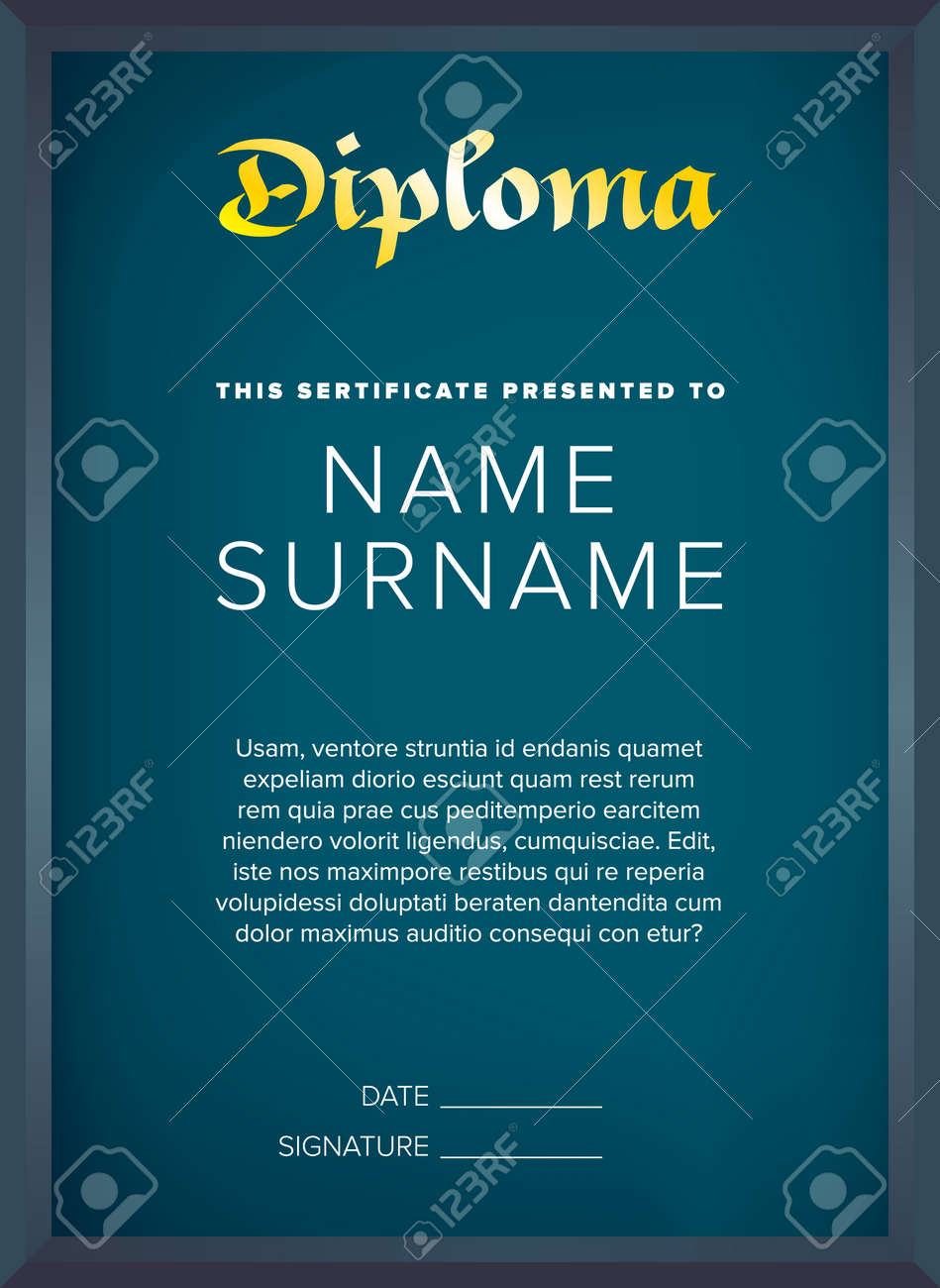 Diploma, Certificate Design Template With Seal And Ribbon Royalty ...
