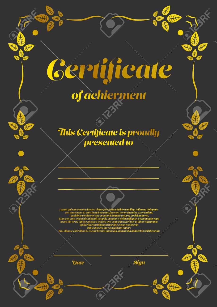 Plantilla De Certificado Vertical De Oro Con Elementos De Diseño ...