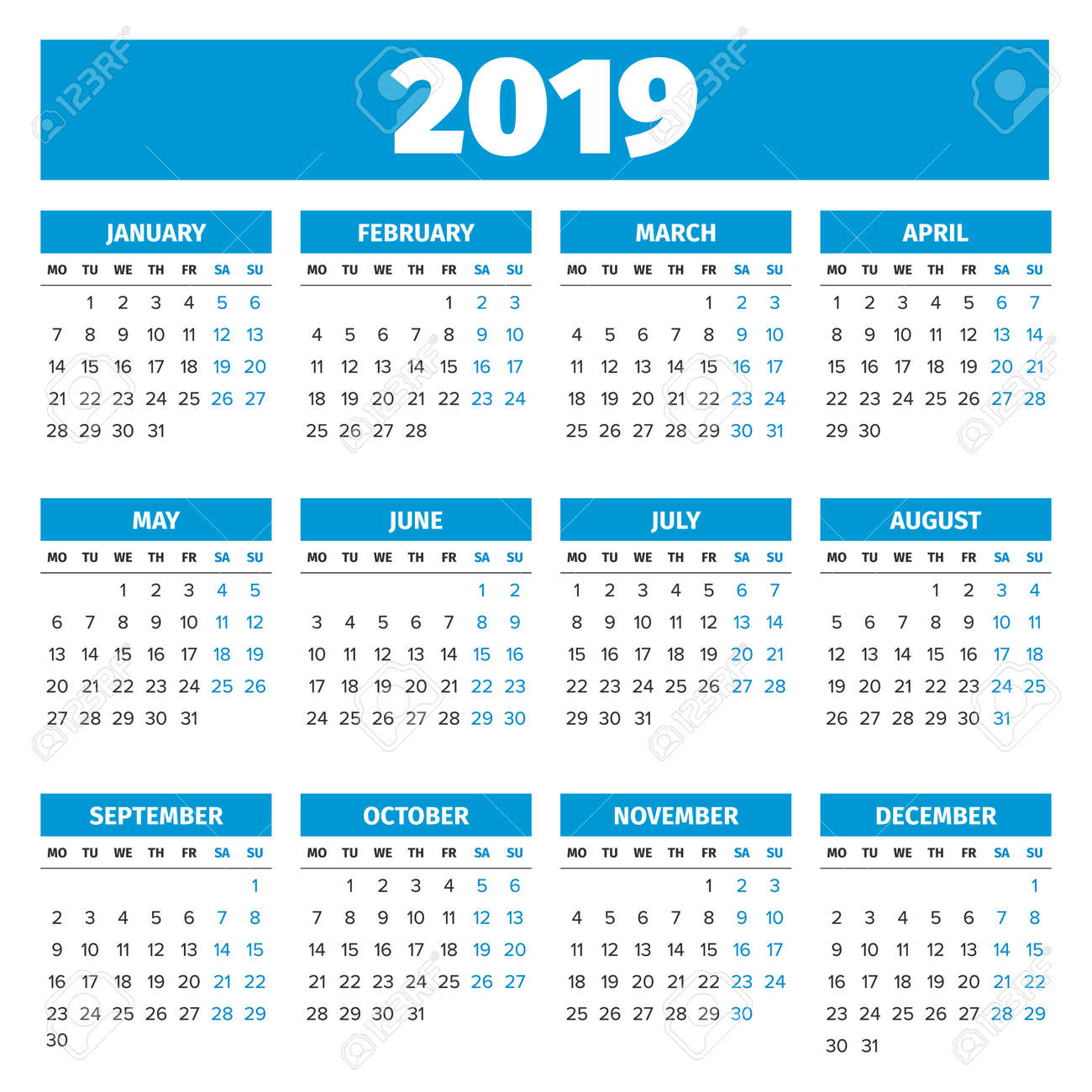 simple 2019 year calendar week starts on monday stock vector 67462588