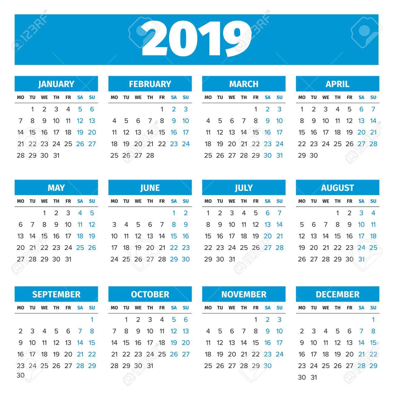 simple 2019 year calendar week starts on monday stock vector 67462588
