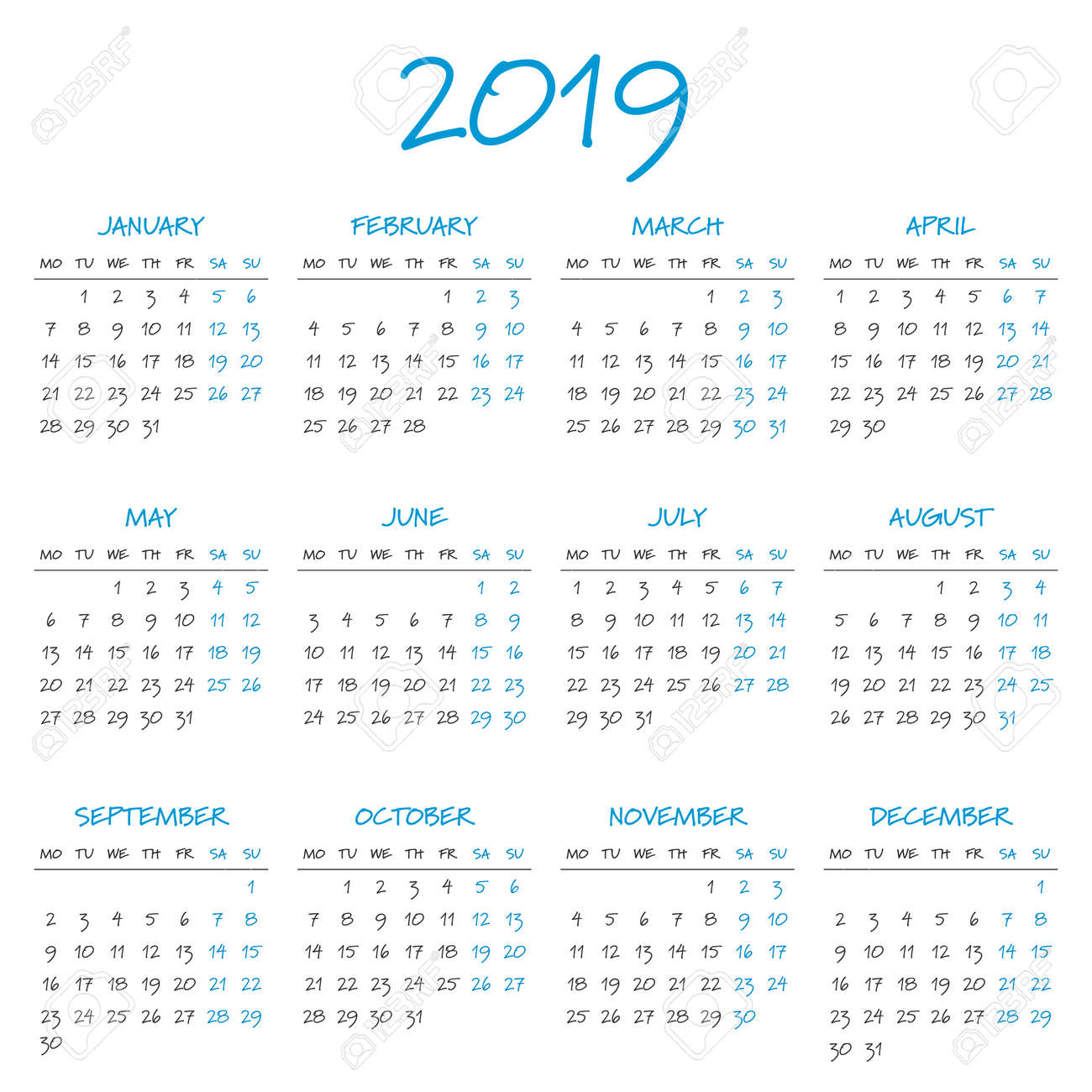 simple 2019 year calendar week starts on monday stock vector 67462590