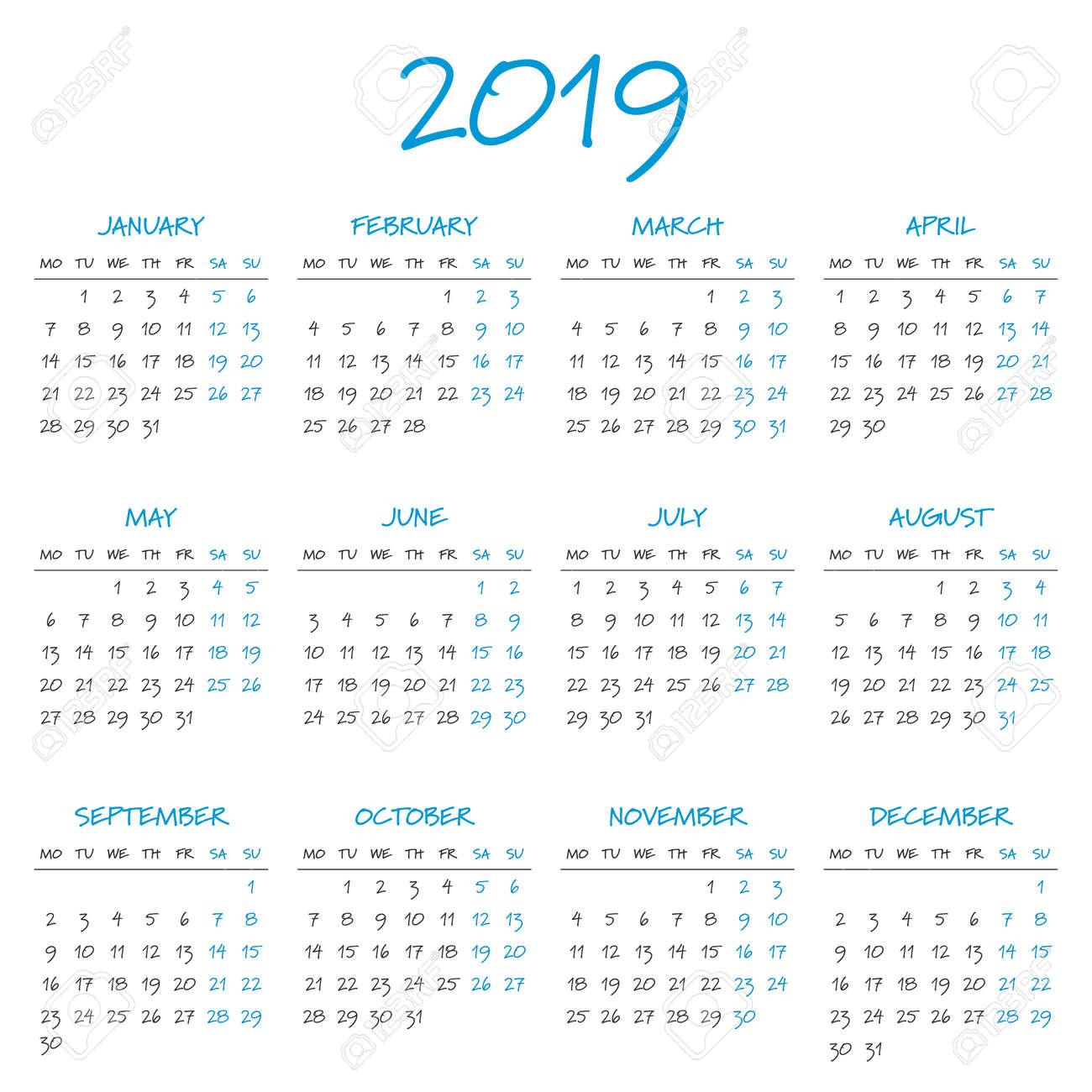 simple 2019 year calendar week starts on monday stock vector 67462590