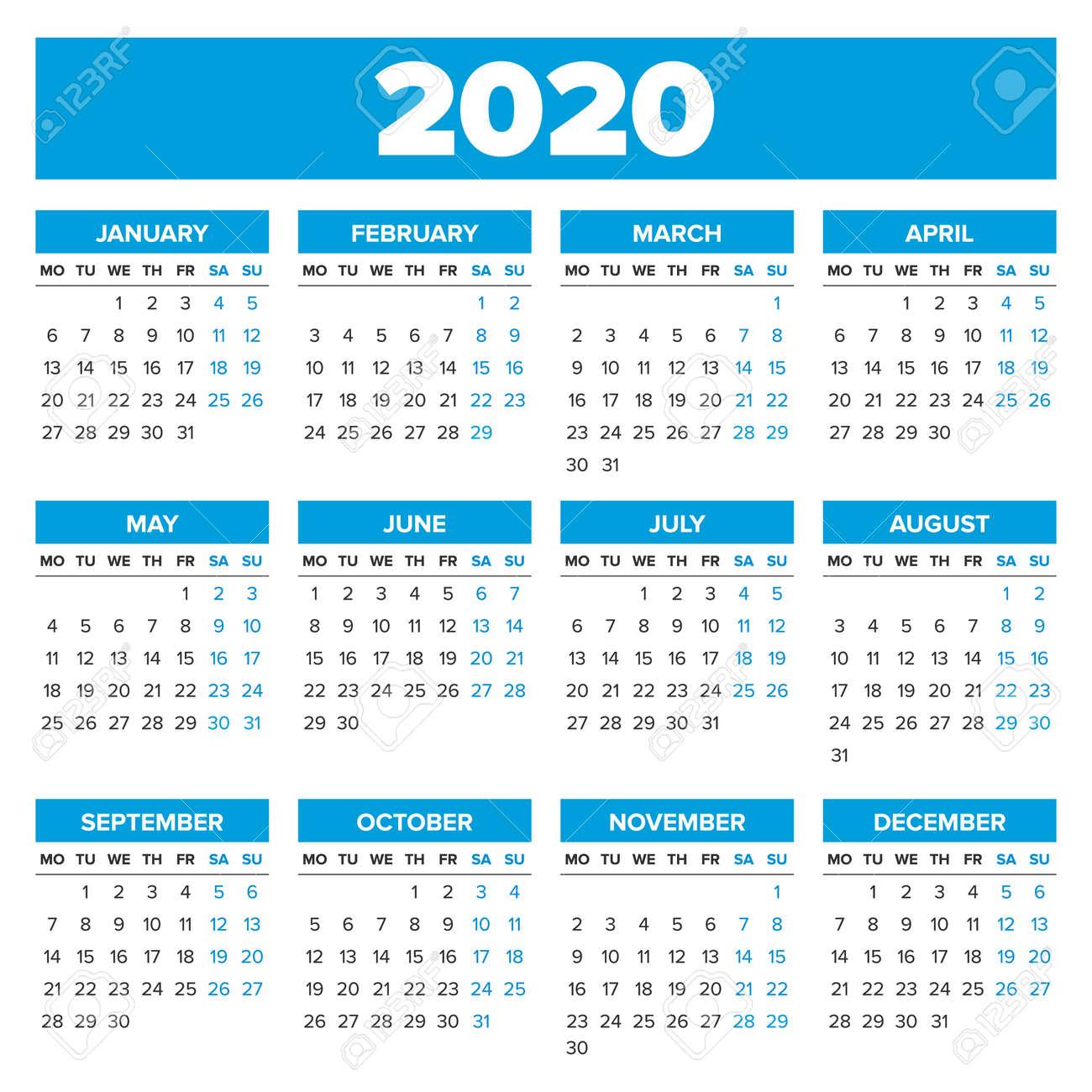 Calendrier Semaines 2020.Calendrier Simple De L Annee 2020 La Semaine Commence Le Lundi