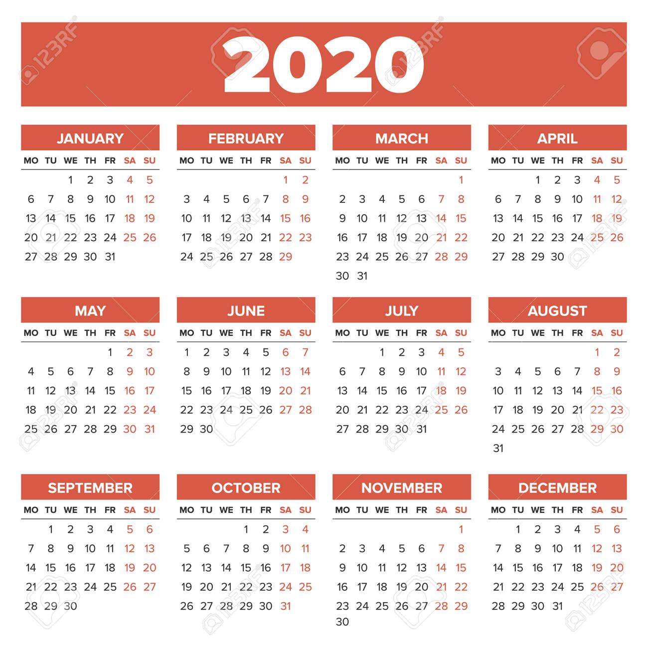 Calendario Diario 2020.Sencillo 2020 Ano Calendario La Semana Comienza El Lunes