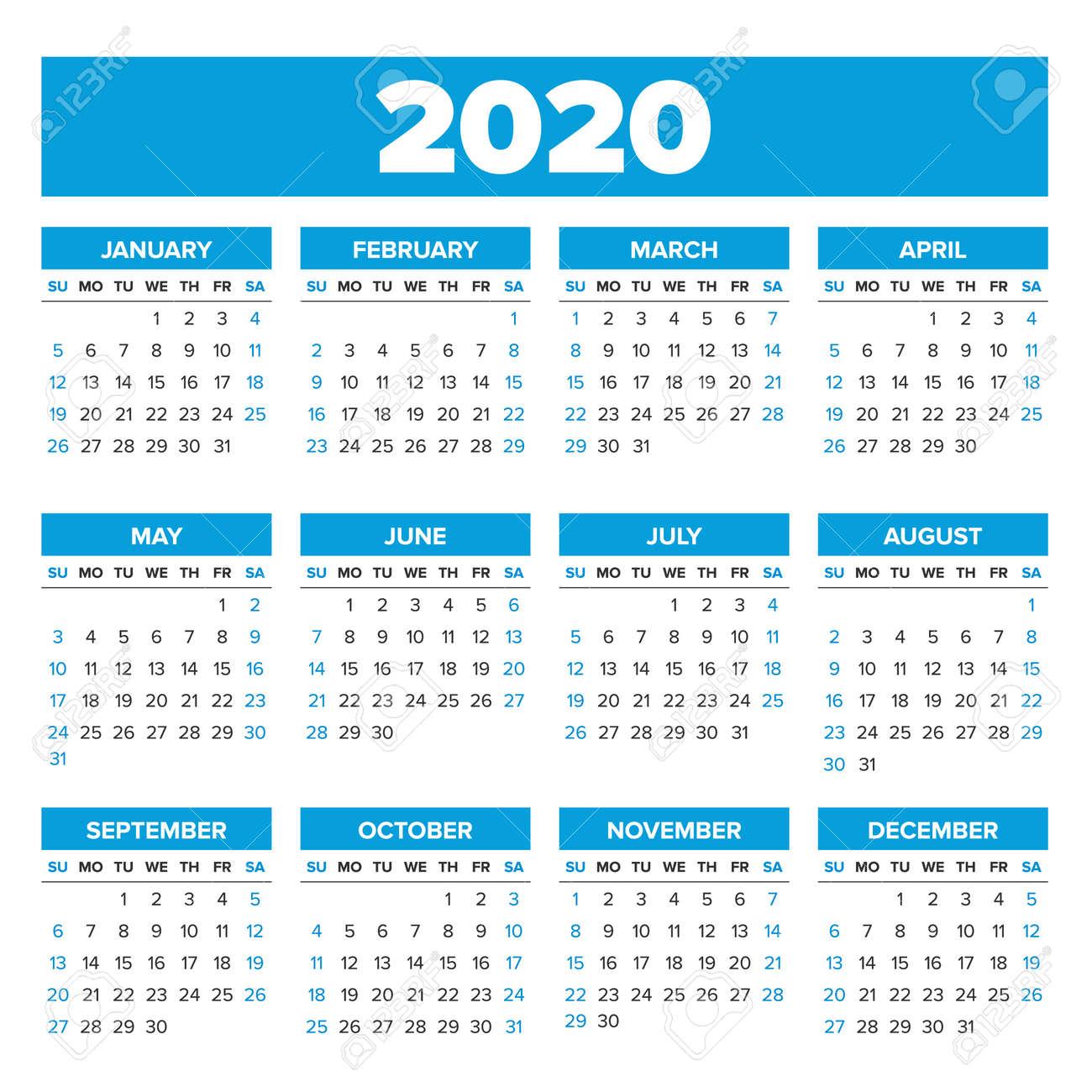 Calendario 2020 Con Foto.Simple 2020 Year Calendar Week Starts On Sunday