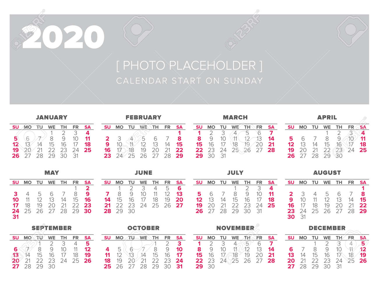 Calendario 2020 Vector Gratis.Calendar 2020 Year Vector Design Template Start On Sunday