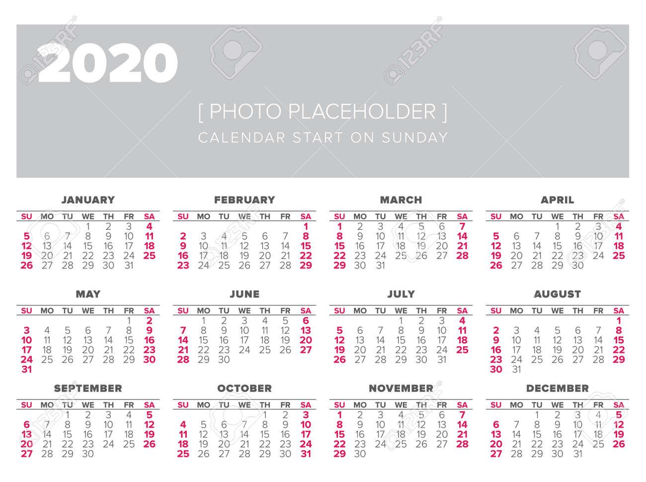 Calendario Del Ano 2020 En Espanol.Plantilla De Diseno De Vector Ano 2020 Calendario Comience El Domingo