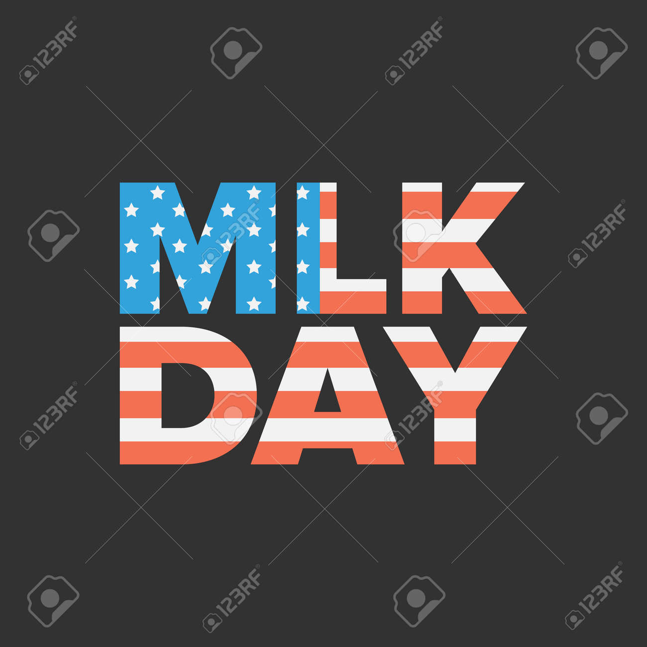 Martin Luther King Day Sign With Usa Flag Background Royalty Free