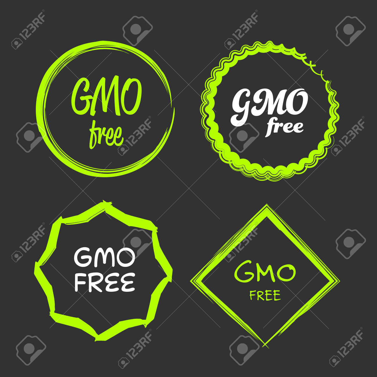 gmo free green and white vector sign logo symbol stock vector - 77838881