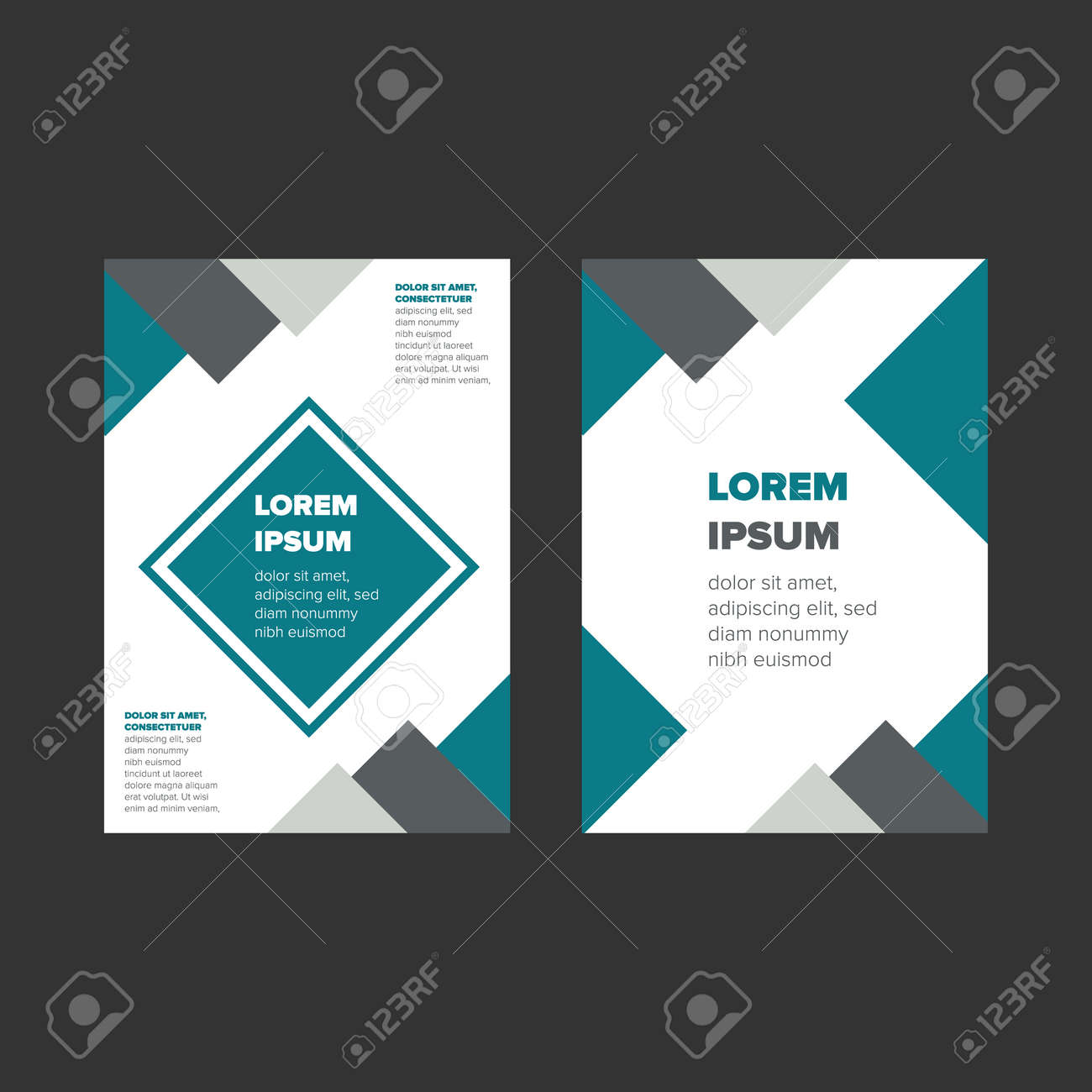 book cover page design with abstract elements and sample text stock