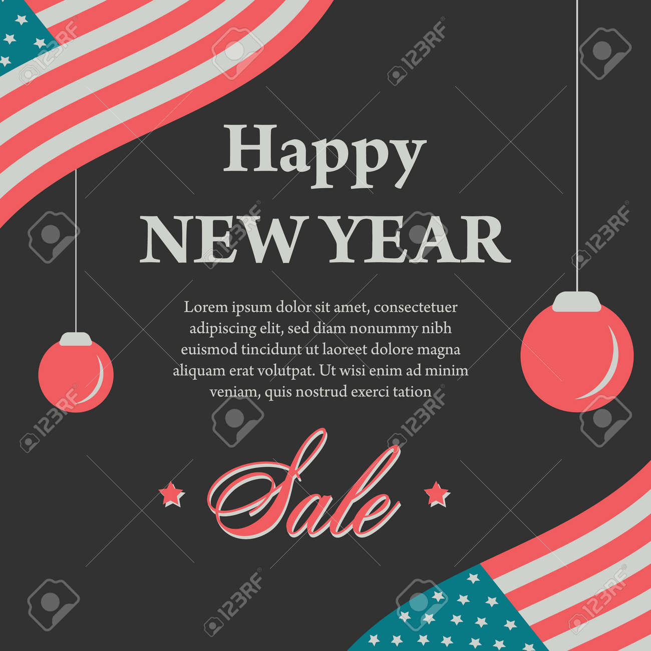 happy new year vintage banner with usa flag on black stock vector 80124006