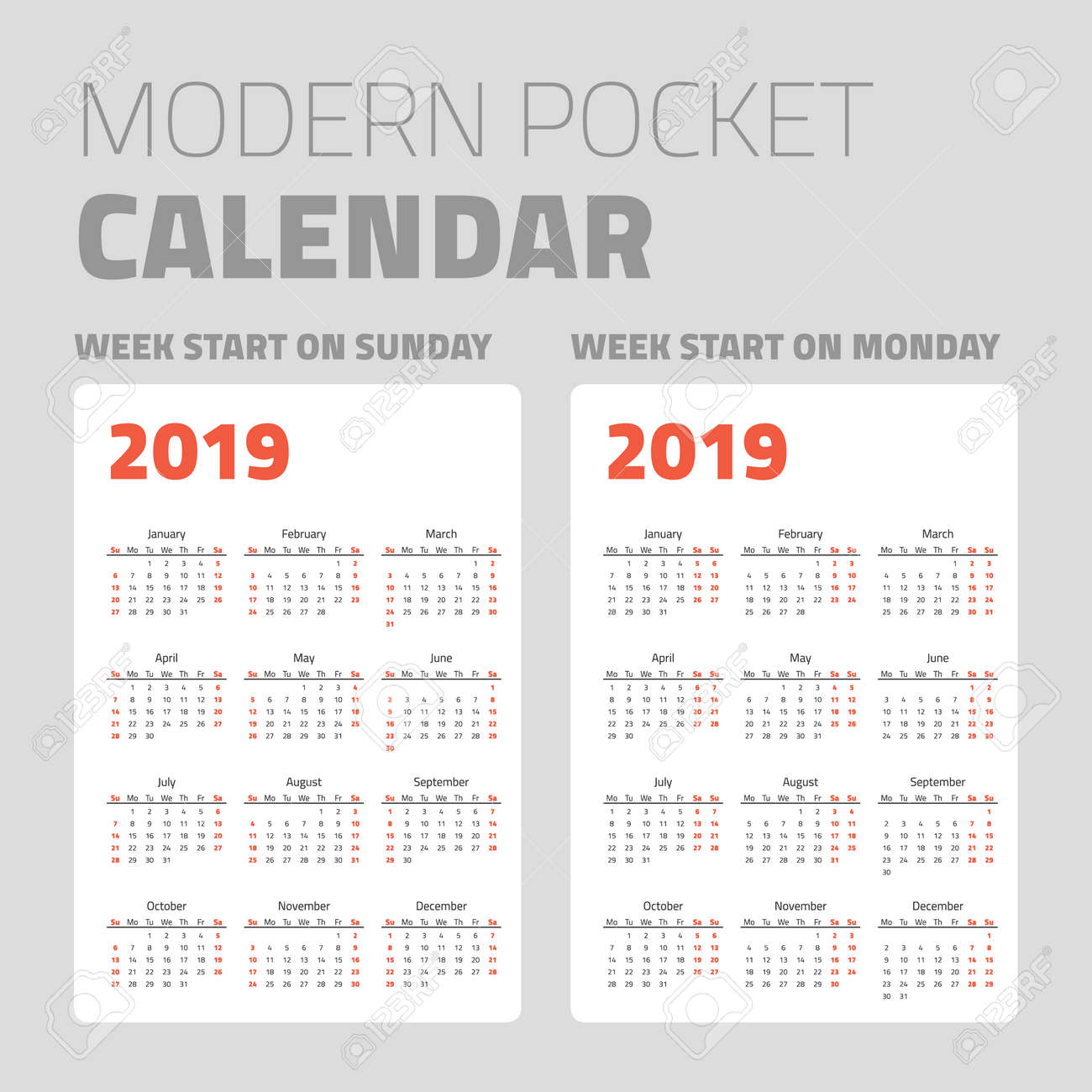 Pocket Calendar.Modern Pocket Calendar Set 2019