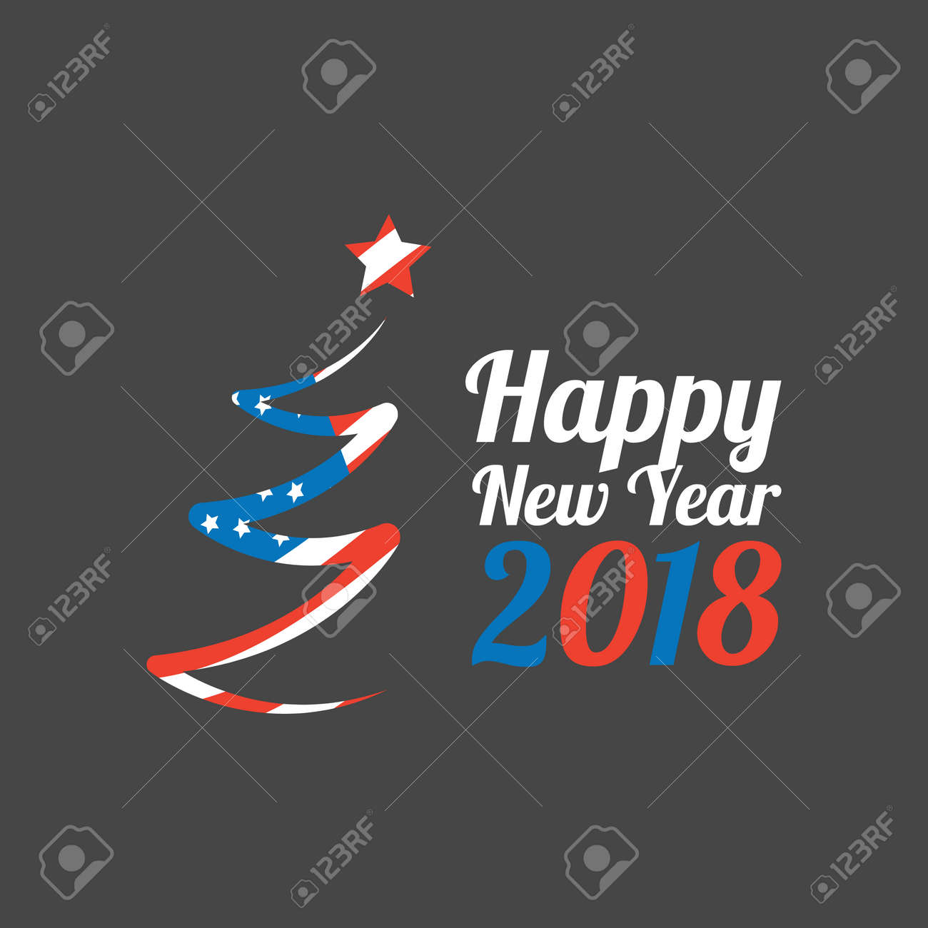 happy new year 2018 banner with usa flag stock vector 83952172