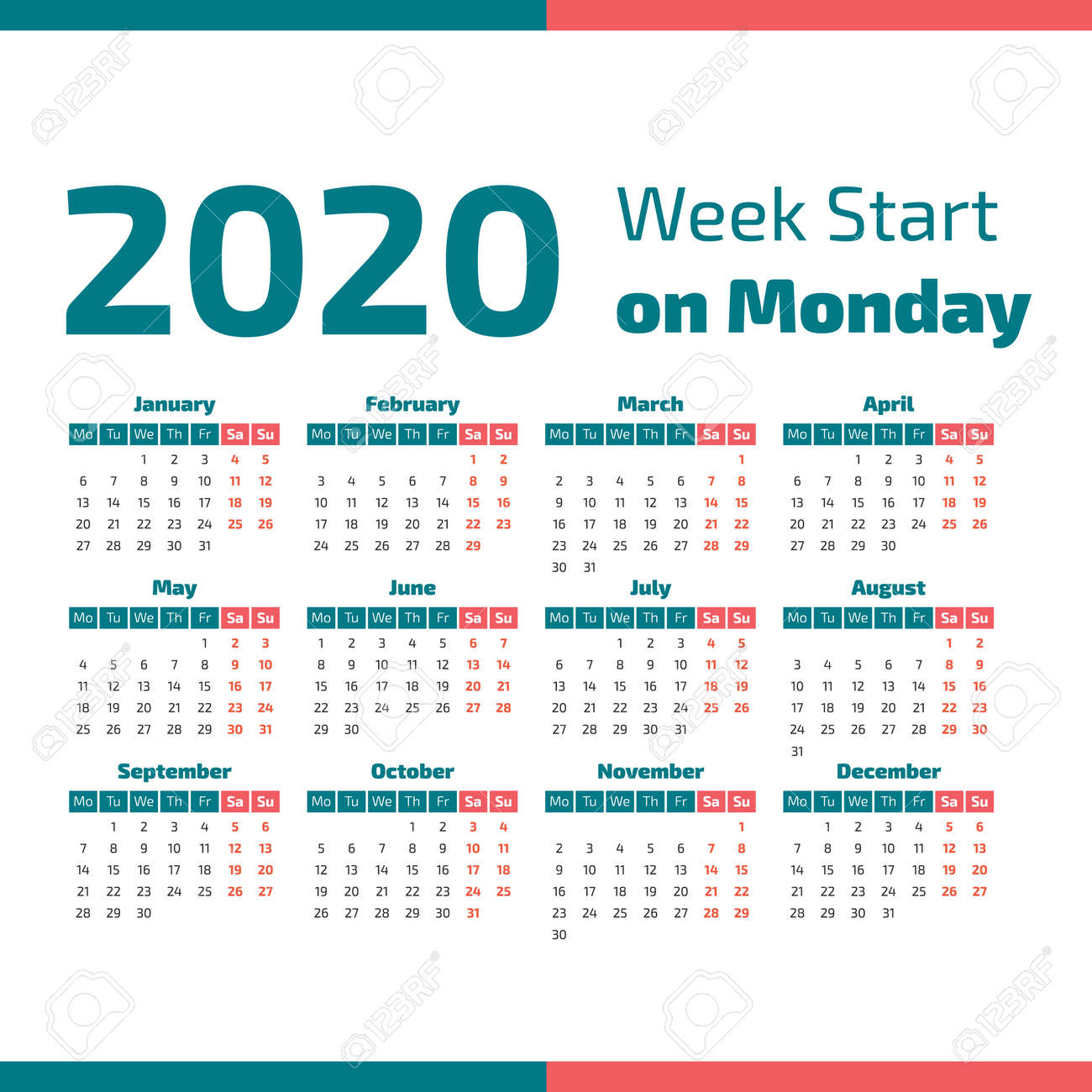 5 Year Calendar Starting 2020 Simple 2020 Year Calendar, Week Starts On Monday Vector