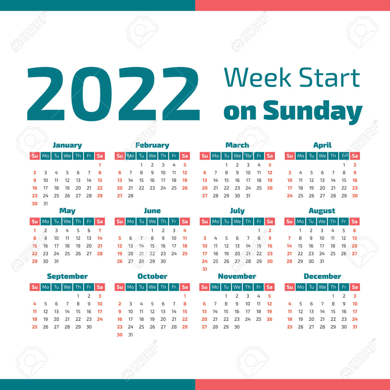 Week Number Calendar 2022.Simple 2022 Year Calendar Week Starts On Sunday Stock Photo Picture And Royalty Free Image Image 101518042