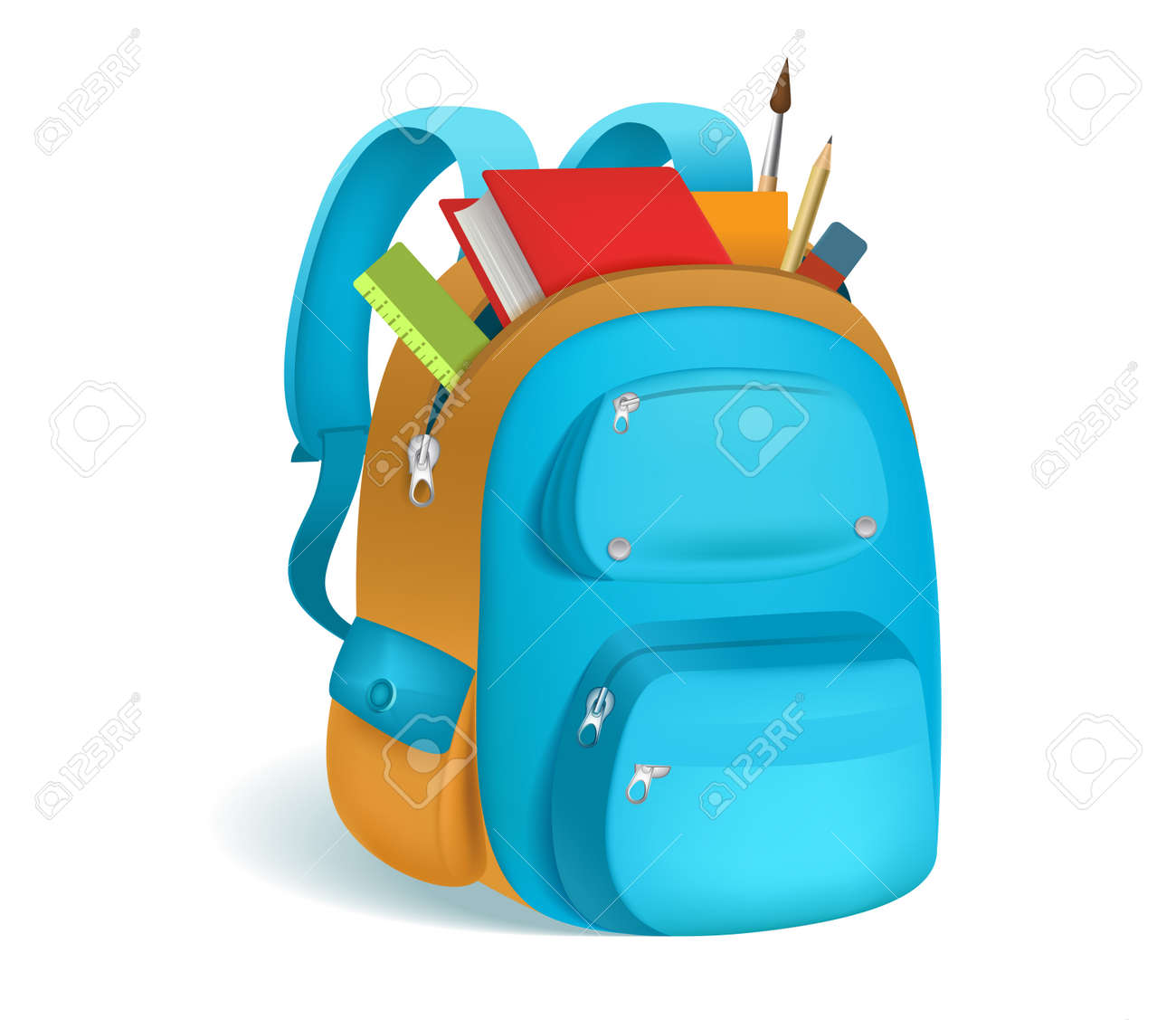 Colorful schoolbag with school supplies. 3d backpack with zippers isolated on white background. Vector illustration. Eps 10. - 83181512
