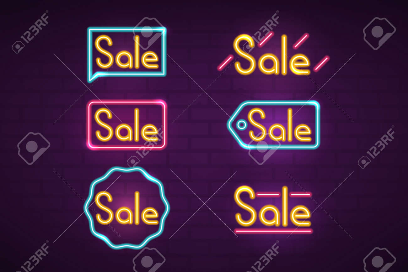 Neon Signs For Sale >> Sale Neon Signs Set Colorful Neon Night Lights Tags On Brick