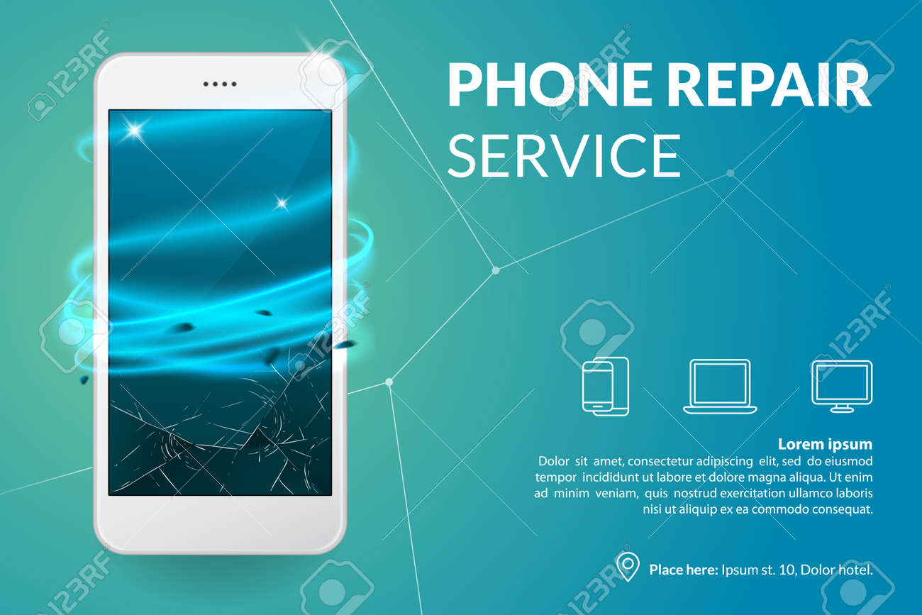 Phone Repair Service Banner Template Smartphone With Broken Royalty Free Cliparts Vectors And Stock Illustration Image 85619853