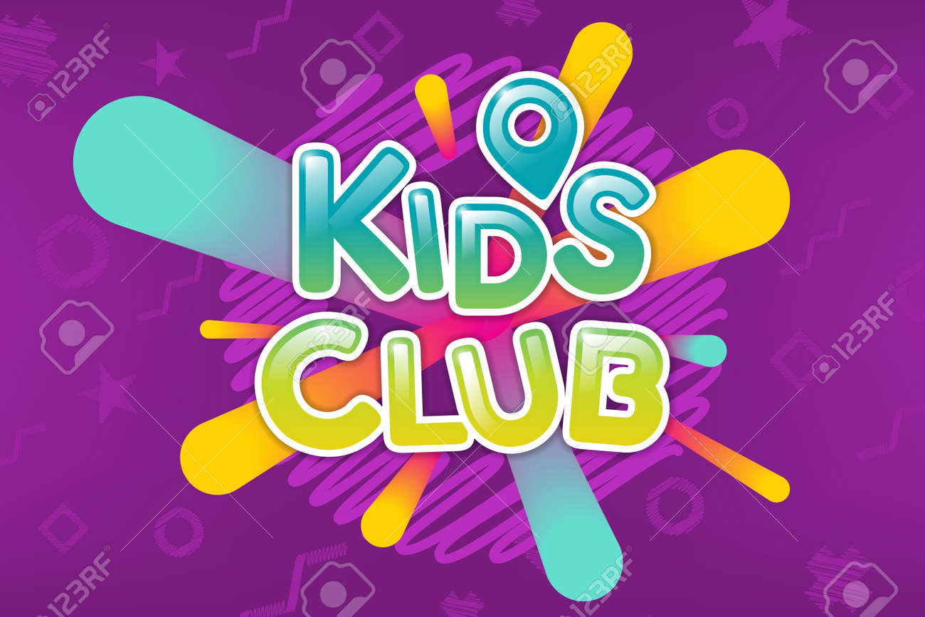 Kids Club Colorful Banner Caramel Text On Abstract Background