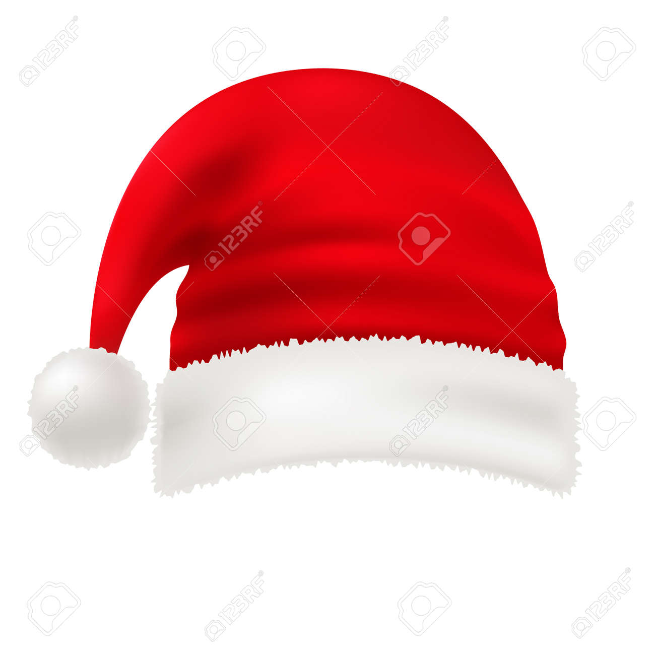 Christmas Hat Transparent Clipart.Vector Red Santa Hat Isolated On White Transparent Background