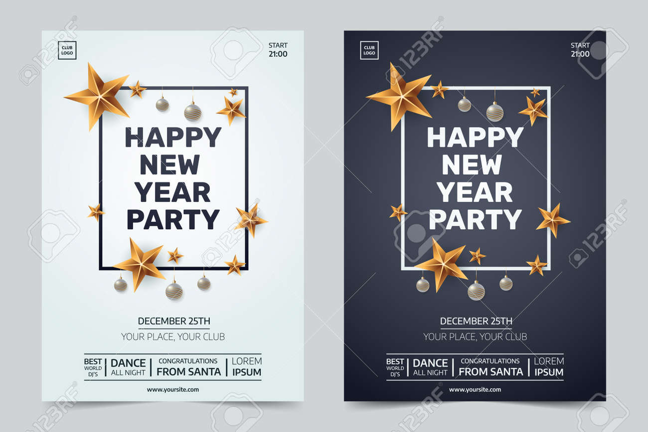 happy new year party invitation black and white festive club posters with traditional decoration