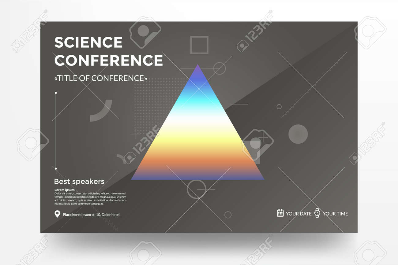 Science Conference Invitation Concept Triangle With Rainbow