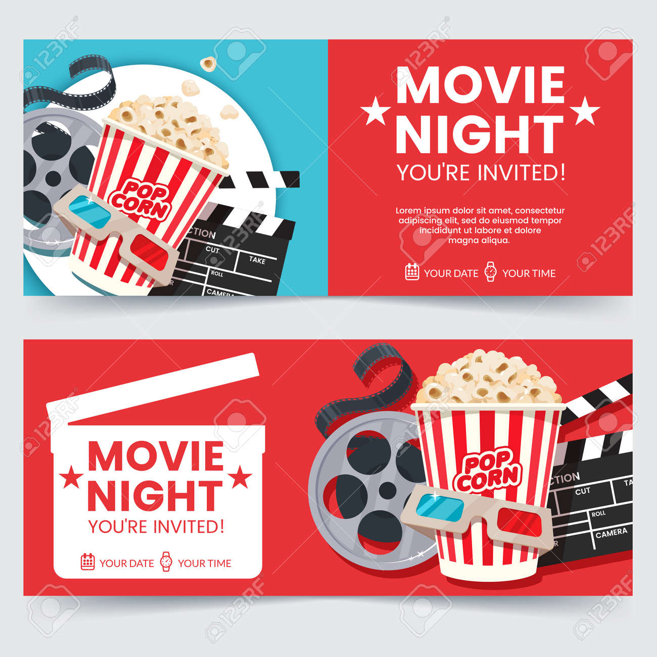 Cinema tickets design concept. Movie Night invitation. Cinema poster template. Composition with popcorn, clapperboard, 3d glasses and filmstrip. Banner design for movie theater. - 95503077