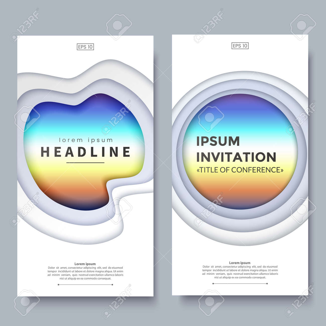 Vertical Banner Design Template With 3d Abstract Layered Paper
