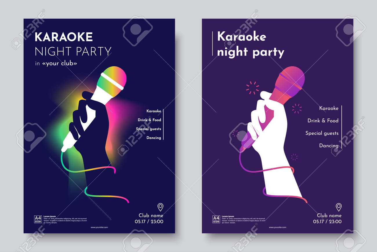 Karaoke Party Invitation Flyer Template Silhouette Of Hand With