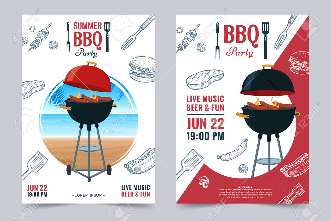 bbq party a4 invitation template summer barbecue weekend flyer