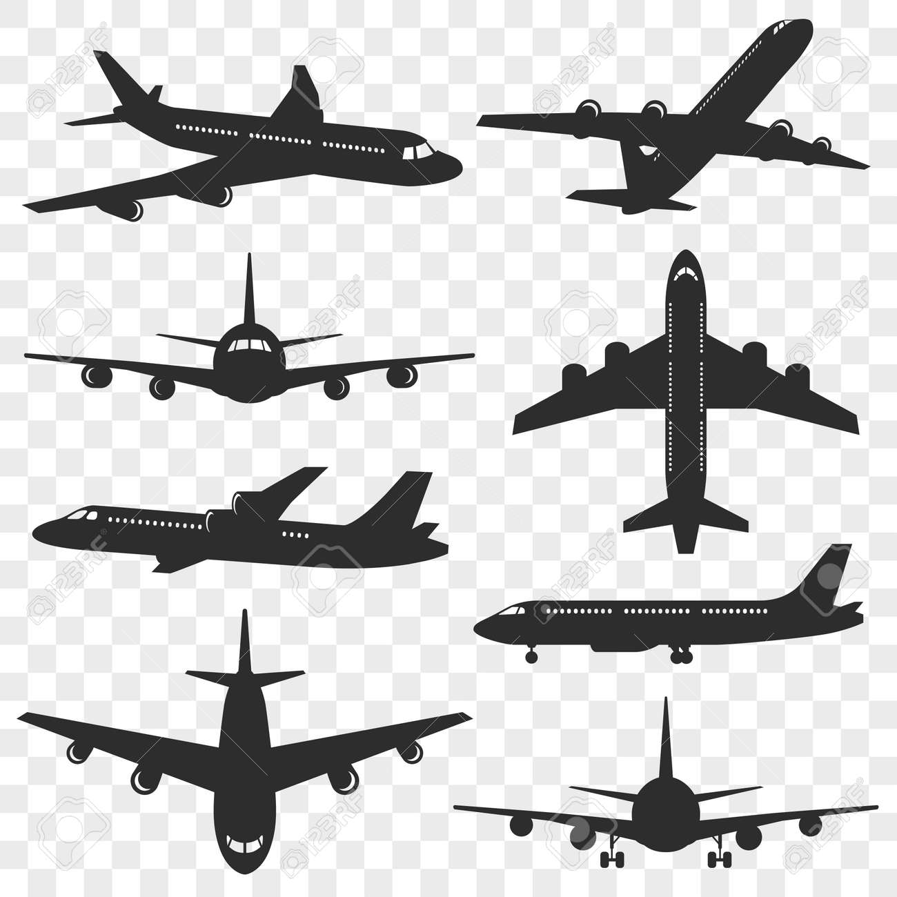 Airplanes Silhouettes Set Plane Silhouette Isolated On Transparent Royalty Free Cliparts Vectors And Stock Illustration Image 111992437 You can add this airplane silhouette to graphic of a sky or city skyline to add effect to your design. airplanes silhouettes set plane silhouette isolated on transparent