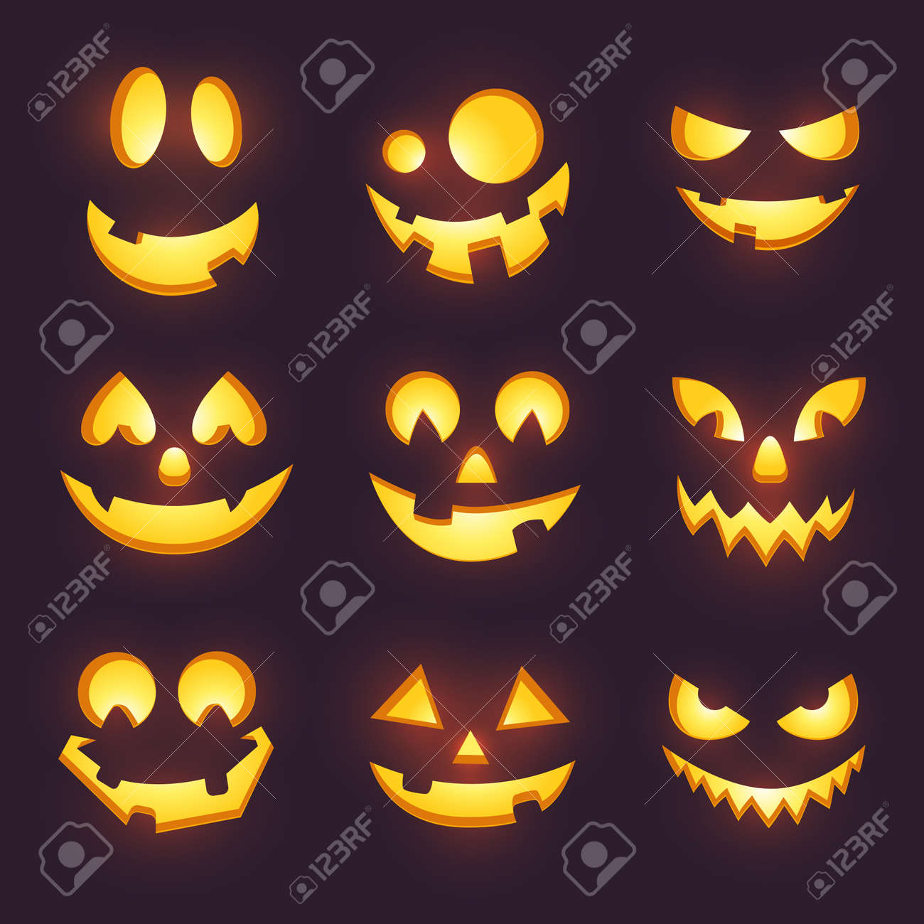 Vector Spooky Glowing Face Isolated On Dark Background Halloween