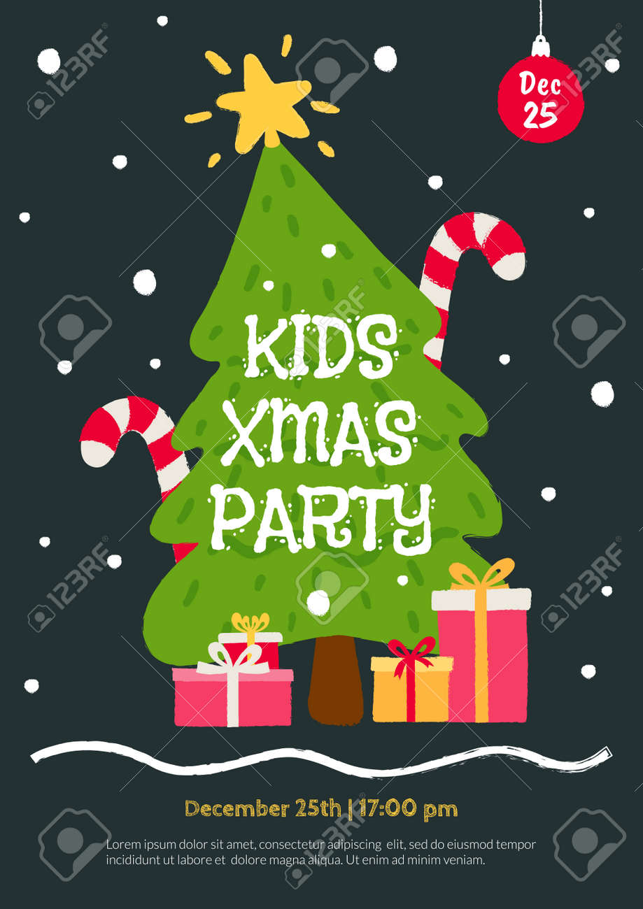 Christmas Party Flyer Template.Kids Christmas Party Invitation Template Flat Cartoon Illustration