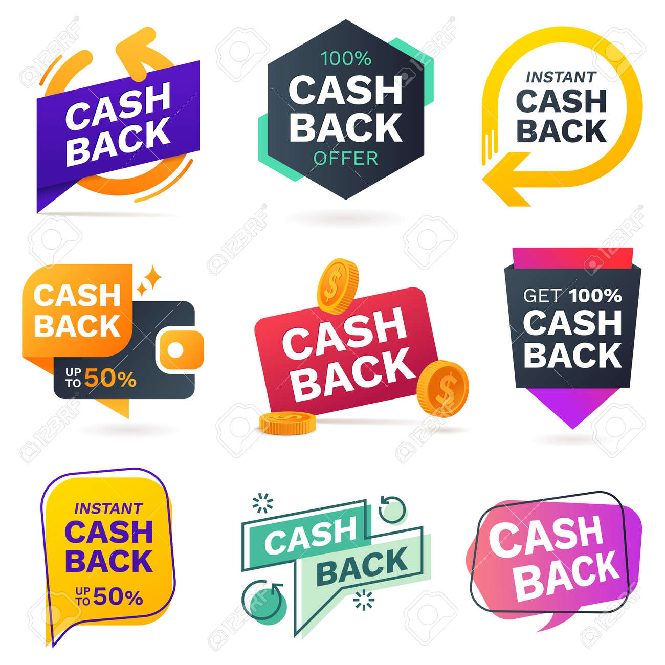 cash back icons set colorful cashback banner collection money royalty free cliparts vectors and stock illustration image 127618565 cash back icons set colorful cashback banner collection money