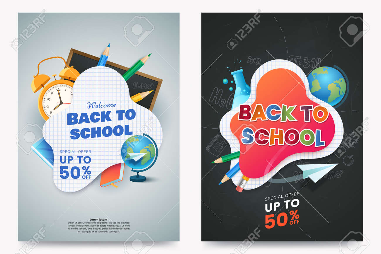 Back To School Sale A4 Poster Design Composition With Text And