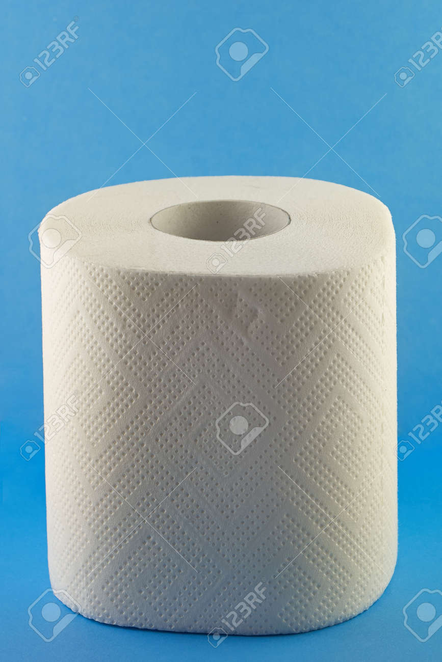 Toilet paper on light blue background - the hygiene concept Stock Photo - 27924759