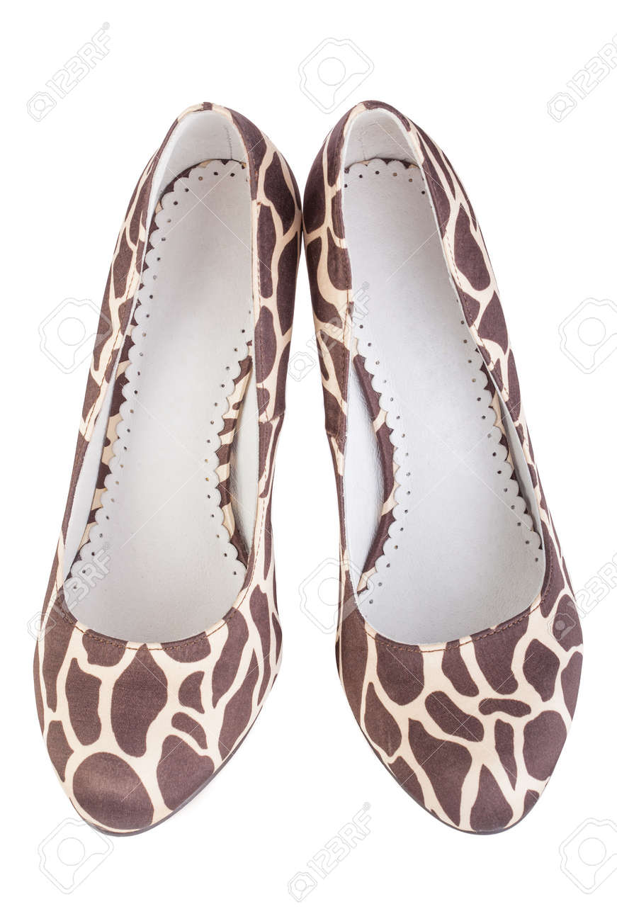 c04c6ad470 Giraffe Print High Shoes On A White Background Stock Photo, Picture ...