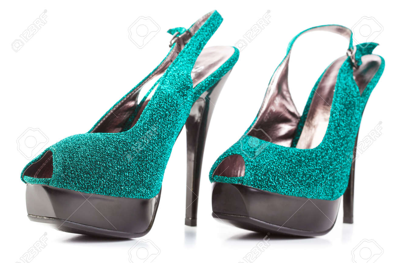 turquoise high heels pump shoes isolated Stock Photo - 13378636